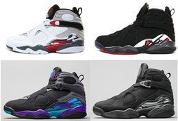 Wholesale Canvas Aqua - 2017 Air retro 8 VIII men basketball shoes Aqua black purple Chrome Playoff red Three Peat RELEASE Athletic sports sneakers size 41-47