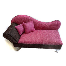 2pc 1:6 Dollshouse Velvet Sofa Miniature Furniture Figure Decor Accessories