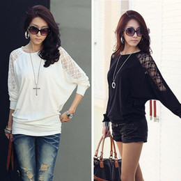 Wholesale- Feitong New Womens Casual Clothing Long Sleeve Dolman Lace Loose T-Shirt Batwing Tops Black&White Free Shipping от Поставщики футболка с длинными рукавами