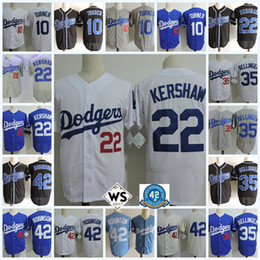 Wholesale Clayton Kershaw Jersey - Mens Clayton Kershaw Jersey Stitched #10 Justin Turner #35 Cody Bellinger #42 Jackie Robinson cool base baseball Jerseys S-3XL