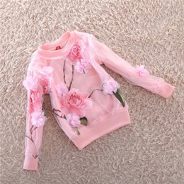 Wholesale Wholesale For Kids T Shirts - Wholesale- 2017 Kids Clothing Long-sleeved Girl T-shirt 3D Flowers Organza T-Shirts For Girls Sweatshirts Kids Top Tee Children Clothing