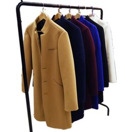 Wholesale Mens Stand Up Collar Coat - Wholesale- Winter Men's Woolen Coat Long Jackets Fashion Single-Breasted Slim Overcoat Warm Stand-up Collar Mens Windbreaker Winter Jacket