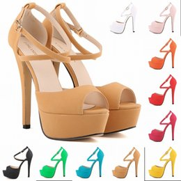 Wholesale Platform Shoes Strappy Heels - Sapato Femin Hot New Open Toe Strappy Platform Faux Suede Thin High Heels Sandals Shoes Sapatos Femininos14CM US SIZE 4-11 D0101