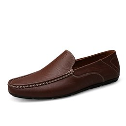 Wholesale Comfy Shoe Brands - High Quality Genuine Leather Men Shoes Soft Moccasins Loafers Fashion Brand Men Flats Comfy Driving Shoes CD17198
