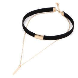 Wholesale Layers Little Girl - Retro Leather Choker Necklace Double Layers with Little Stick Pendant Necklace for Women and Girls By Hcish Jewelry NJ30670