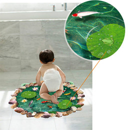 Wholesale Stick Tiles - 1x 60*90cm Waterproof Anti-slip Lotus Goldfish Pattern DIY 3D Wall Stickers Bathroom Living Room Floor Decals Home Decor