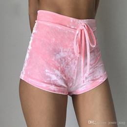 Wholesale Women Sleep Shorts - Women velvet drawstring shorts Casual high waist 2017 autumn winter sexy mini shorts sleep Bottoms trousers Home outfits