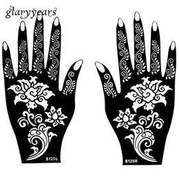 Wholesale Flower Designs For Tattoos - Wholesale-Hot 1 Pair Henna Tattoo Stencil Beautiful Flower Pattern Design for Women Body Hands Mehndi Airbrush Art Painting 20 * 11cm S125