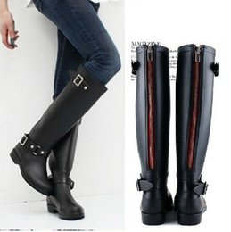 Wholesale Hot W Heels - Hot Sales Ladies Unique New Arrival Punk Design Back Zip Fashion Horse Rain Boots Women Fashion Horseriding Boots Lady RainBoots