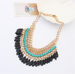 Wholesale Pressed Beads - Bohemian multilayer beads Necklace The force that press a gram droplets collarbone chain tassel necklace