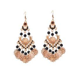 Orange gold ohrringe online-2017 neue Mode Hohle Muster Ohrringe Frauen Böhmen Stil Perlen Charme Ohrringe Schwarz / Orange Schmuck Geschenke