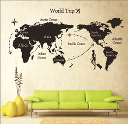 Wholesale Travel World Map Wall Decals - PVC Wall Decal Travel World Map Mural Home Decoration Removable Wall Stickers For Living Room and Study Decoration