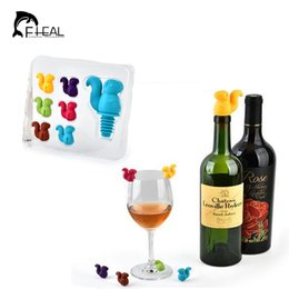 Wholesale Label Bottles - Fheal 7Pcs  Set Squirrel Wine Stopper with Wine Glass Markers Cup Recognizer Labels Silicone Bottle Stopper Set Party Accessories Bar Tool