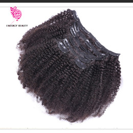 Wholesale American Curls Hair - Clip In Human Hair Extensions 7pcs set Brazilian African American Clip In Human Hair Extensions Clip Ins Curl Coily