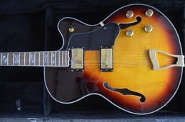 Wholesale Jazz Pickups - wholesale L5 Jazz guitar Semi hollowbody guitar Golden bridge and humbacker pickups Grover tuner custom guitar shop Color can custom