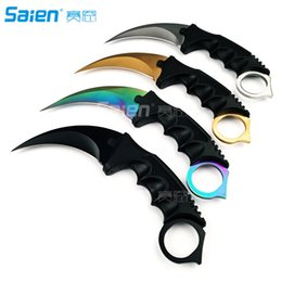 Wholesale Neck Knifes - Tactical Knife - Karambit Hawkbill Neck Knife With Rope and Sharpener - Outdoor Survival, Camping or Fishing Companion
