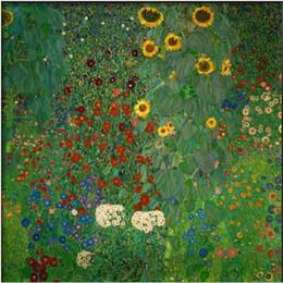 Wholesale Gustav Klimt Oil - Genuine Handpainted Gustav Klimt Art Oil Painting On High Quality Canvas, Bauerngarten mit Sonnenblumen in Multi sizes Available MY215