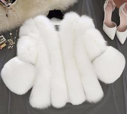 Wholesale Winter Furry Jacket - New Winter Pink Fur Coat Woman Fashion Furry Faux Fox Fur Coats Artificial Fur Short Grey Jacket Gilet Black