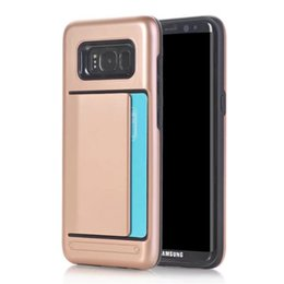 Wholesale Hard Plastic Credit Card Case - Hybrid Hard Armor Credit Card Slot Back Cover Case For Samsung Galaxy S3 S4 S5 S6 S7 edge   S8 Plus Silicone+PC Protective Shell