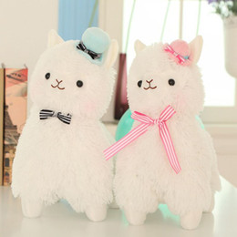 Wholesale Plush Soft Toys - 1pcs 35cm Arpakasso Alpacasso Kawaii Alpaca Plush Toys Doll With Topper Hat Bow Soft Sheep Stuffed Toys 3 Colors