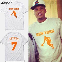 Wholesale Shirts Shorts Sleeves - ZkcDOIT Carmelo anthony 7# jersey summer new brand New York basketball tee shirts homme short sleeves loose tee top,tx2346