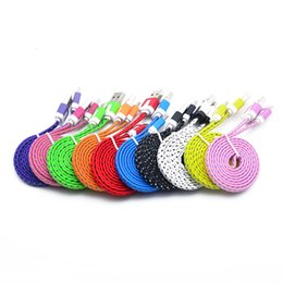 Wholesale 2m Color Usb Noodle - NEW 1 M 2M 3M Strong Fabric flat noodle Braided Type-C 3.1 Type C USB Data Charger Charging Sync for Nexus 6 P 5X Oneplus 2