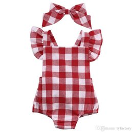 Wholesale Princess Headdress Baby - Baby Girls outfits toddler kids fly sleeve red white lattice jumpsuit + bow headdress 2pcs sets 2017 summer new kids princess clothes T0913