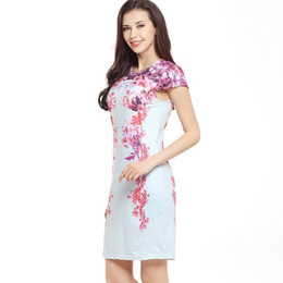 Wholesale Wholesale Apparel Short Sleeve Dresses - Women's Pull On Closure Floral Short Sleeve Dress Scoop Neck Tight Bodycon Apparel Dress for Casual   Cocktail Party