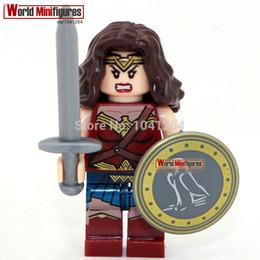 Wholesale Dawn Women - WholeSale 20pcs Wonder Woman Diana Dawn of Justice Super Heroes Batman Superman Assemble Model Building Blocks Minifigures Kids Toys Gifts