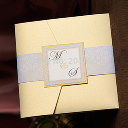 Wholesale Invitation Card Pocket - Wholesale- Cream Pocket Wedding invitations, Free Personalized & Customized Printing invitation cards 100pcs lot, NK-163
