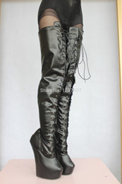 Wholesale Horse Hooves - Wholesale- 2015 New Arrival Black PU 71cm Laceup Extreme Fetish Heelless Horse Ponying Stallion Hoof Sole Platform Thigh high boots