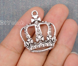 Wholesale Crown Connector - 50pcs-Antique Tibetan Tone Silver Large Plated Knitting Queen Crown Crochet Queen Charm Pendant Lovely Connector DIY Jewelry Making