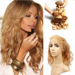 Wholesale Lace Front Weave Closures - Hot Beauty #27 Honey Blonde 360 Lace Frontal With 3 Bundles Brazilian Hair Body Wave Hair Weaves with Full Lace Front Closure