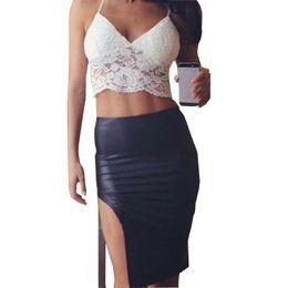 Wholesale Deep Cut Vests - 2016 Summer Style Women Sexy Deep V Lace Halter Crochet Crop Tops Strap Camisole Bra Vest Cut Out Shirt Beach Tank Camis