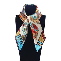 Wholesale Square Scarf Models - Wholesale-60cm*60cm Korean version of the explosion models cute painting Women Silk painted cat small square silk scarf wholesale