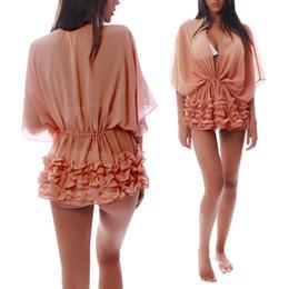 Wholesale Cover Up Swimsuit Shirt Dresses - Sexy Beach Bikini Cover Ups 2017 Bat Sleeve Swimwear Blouse Lace Hem Coverup Sexy Bandage Swimsuit Cover Up Women Beach Shirts Dress