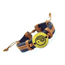 Wholesale Braid Pendant Bracelets Fashion - Wholesale-2016 Genuine Leather Tai Chi Charm Bracelet Cuff Braided Wrap Antique Bronze Pendant Bracelet & Bangles Fashion For Women Men
