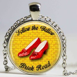 Wholesale Car Following - Follow The Yellow Brick Road necklace Oz Jewelry Wearable Art Bag Pendant Car Key Holder Christmas Gift for Women for Men