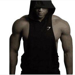 Wholesale Hooded Vest Dress - Wholesale- 2016 men hooded vest dig fitness allen iverson jersey gold shark clothing bodybuilding dress tank top men tracy mcgrady jersey