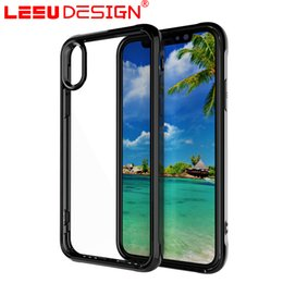 Wholesale Hard Back Tpu Iphone - LEEU DESIGN pc tpu for iphone x case hard back cover Transparent acrylic + Soft TPU Frame case for iphone 8 plus for sale