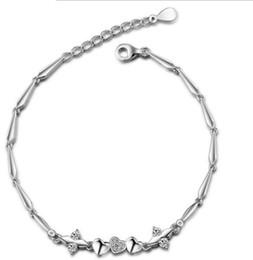 925 Sterling Silver Feminino Natural Ametista Pulseira Coração Pulseira Coreano Jóias (Cor: Branco, Tamanho: 8.07 polegadas) de Fornecedores de ametista coração pulseira de prata esterlina