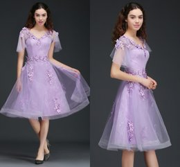 Wholesale Fairy Dresses For Girls - Fairy Lilac A Line Homecoming Dresses For Girls 3D Appliques Lace Knee Length Prom Dresses Low Back Short Sleeves Homecoming Gowns CPS673