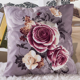 Wholesale Pink Roses Pillow Cases - Vintage Rose Throw Pillow Case Home texile Plush Polyester Pillow Cover 45cm X 45cm