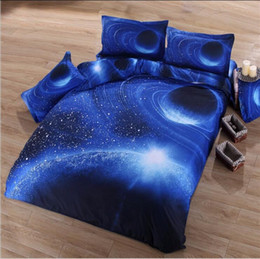 Wholesale Outer Space Bedding - 4pcs 3D Print Bedding Sets Galaxy Duvet Cover Set Single Double Twin Queen Universe Outer Space Themed Bed Linen Bed Sheet