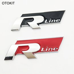 Wholesale Decals For Vehicles - Cool 3D Metal Car Sticker R Line Vehicle Logo Sport Car Cover for VW Golf 6 CC Scirocco SUV & All Auto Decal Car Styling