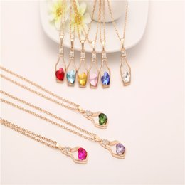 Wholesale Love Wishing Bottle - Creative Design Popular Style Heart Crystal Pendant Necklace Female Fashion Love Drift Bottles Wishing Bottles Jewelry Accessories