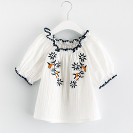 Wholesale Ethnic Floral - 2017 Summer Girls Tops Floral Embroidered Flare Sleeve Kids Shirts Off Shoulder Ruffle Children Tee Shirts Ethnic Style Girl Blouse C711
