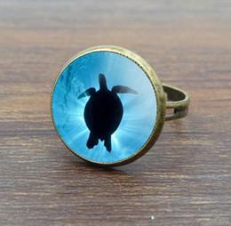 Wholesale Bronze Turtle Vintage - New 10pcs Sea Turtle Glass Dome Cabochon Women Rings Vintage Jewelry Ancient Bronze Rings Adjustable