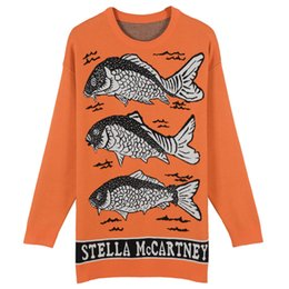 Wholesale crochet sweater women - Free Shipping 2017 Lake Blue Orange Three Fishes Jacquard Pullover Women Brand Same Style Letter Print Women's Sweaters DH306