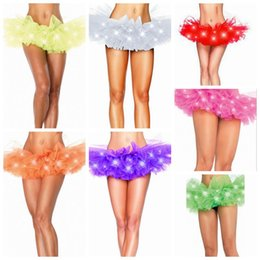 Wholesale Neon Halloween Costumes - LED Tutu Mini Skirt Neon Light Up Tutu Fancy Stage Dancing Halloween Costume Clubwear LED Skirts 11 Colors 100pcs OOA3575